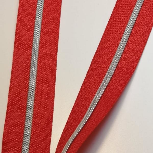 Metallized zipper 399 orange-red narrow silver Stoffdreams4you