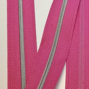 Metallized zipper 401 Persian pink mallow narrow silver Stoffdreams4you