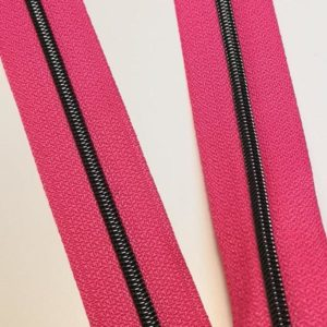 Metallized zipper 190 Magenta-Pink narrow Brass-Black Stoffdreams4you