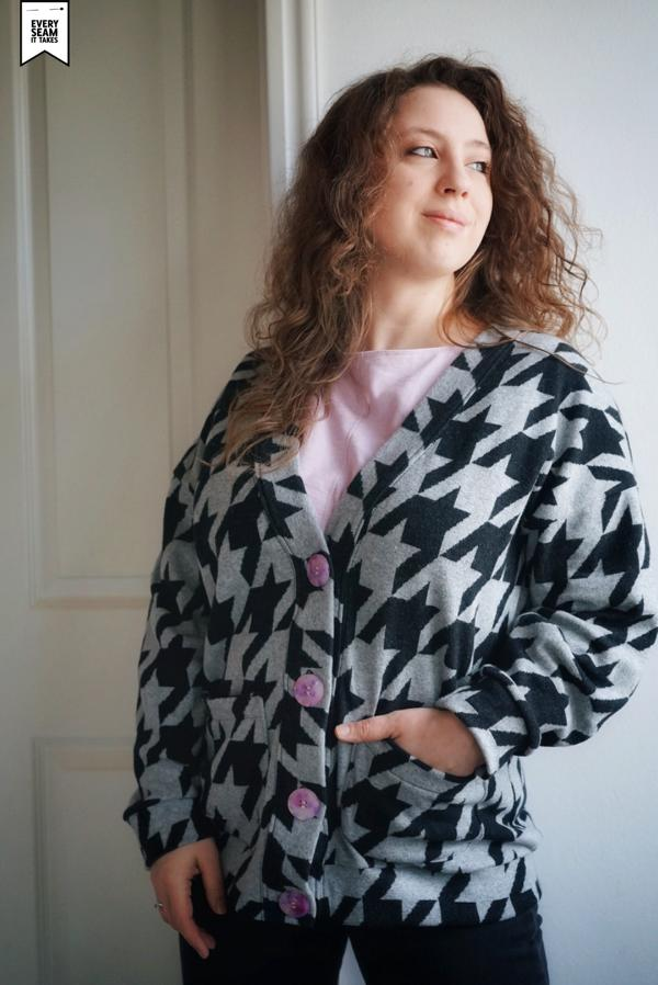 Giant Houndstooth cuddly jacquard gray black Stofftraeume4you ALBSTOFFE Everyseamittake's example