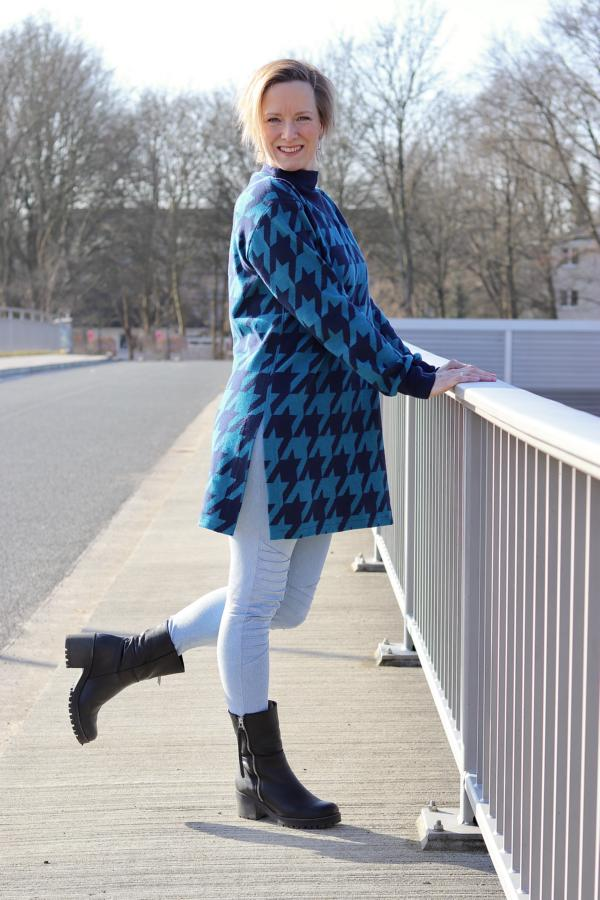 Cuddly jacquard Giant Houndstooth Petrol Navy Stoffträume4you In-house production Albstoffe Svenja