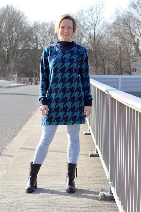 Kuschel-Jacquard Giant Houndstooth Petrol Navy Stoffträume4you Eigenproduktion Albstoffe