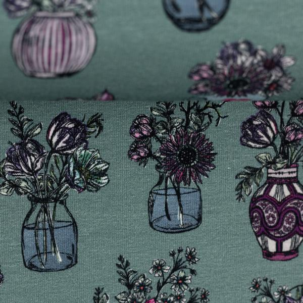 French Terry All my Flowers by Lila-Lotta 100267 Flower Vases SMARAGD Swafing Stoffträume4you Home